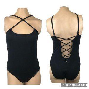 Joy Lab Open Back Bodysuit Small Black